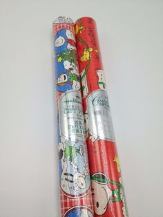 Vintage Christmas Peanuts Snoopy Gift Wrap christmas Wrapping Paper 2 rolls Hallmark USA 40 sq ft
