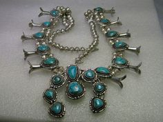 Vintage Sterling Silver Naja Turquoise Squash Blossom Necklace, Native American/Southwestern, 27""