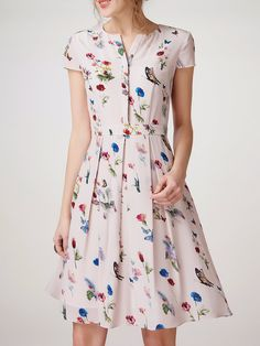 #AdoreWe ADOREALIA Multicolor Folds Short Sleeve Silk V Neck Midi Dress - AdoreWe.com