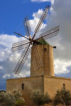 Xarolla Windmill, Zurrieq, Malta ~ bulilt by the Knights of Malta, 1724.