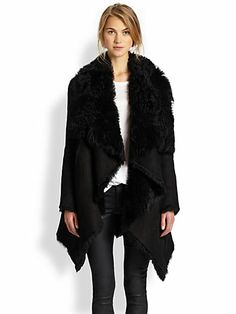 OMG. I need this. Immediately. Rebecca Minkoff Suede/Shearling Coat