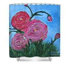 Restless Ranunculus Shower Curtain by Mary Mirabal