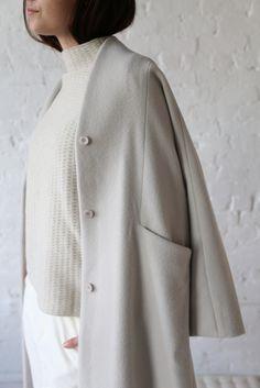 Evam Eva Wool Velour Long Coat Grey