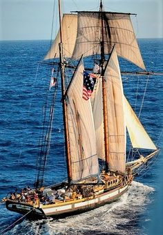The celebrated War of 1812 privateer square topsail schooner.