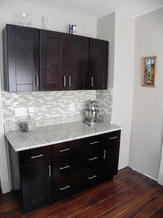 Good contrast of dark and light, white walls, shaker cabinets, good use of materials. Would look good with undercabinet lighting, might look better with full height cabinets | ... our Mocha Shaker Cabinets and Handle Pulls – RTA Kitchen Cabinets