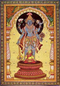 Vishnu and Bhumi (the Earth Goddess), patra painting from Odisha. Indian Traditional Paintings, Indian Art Paintings, Traditional Art, Kerala Mural Painting, Tanjore Painting, Kalamkari Painting, Phad Painting, Pagan Gods, Krishna Art