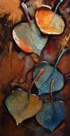 Leaf Series 2 - 10107 mixed media leaves © Carol Nelson Fine Art, painting by…