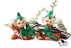 Vintage Christmas Elves Green Porcelain by northandsouthshabby