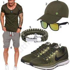 Grünes Herrenoutfit mit Shirt, Cap und Shorts - outfits4you.de Looks Style, Casual Looks, Men's Summer Fashion Trends, Black And Grey Outfits, Fashion Photography Poses, Neue Outfits, Casual Outfits, Fashion Outfits, Bermudas