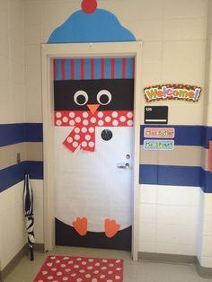 Penguin activities: Quick, easy & oh so cute penguin door. Preschool Classroom Themes, Preschool Door, Classroom Crafts, Preschool Bulletin, School Door Decorations, Christmas Door Decorations, Christmas Classroom Door, Teacher Doors, School Doors