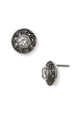 Judith Jack Small Crystal Center Marcasite Earrings available at #Nordstrom | I adore marcasite. I want it on my engagement ring