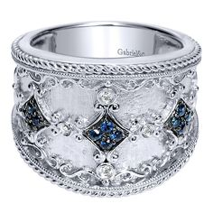 925 Silver Roman Style Wide_band Ladies' Ring With Diamond With And Sapphire.