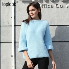 Toplook Solid Loose Knitted Sweater Womens 2017 Winter and Autumn Three Quarter Sleeve O-Neck Short Casual Pullovers Sweater Hot #toplook #sweaters #women_clothing #stylish_sweater #style #fashion