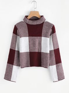 High Neck Gingham Crop Sweater - Fashion Trends of Winter Womens trendy sweaters 2020 Chunky Cable Knit Sweater, Cropped Sweater, Pullover Sweaters, Turtleneck, Blusas Crop Top, Crop Tops, Off The Shoulder Jumper, Top Mode, Sweater Fashion