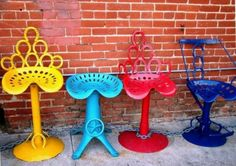 Tractor seats horseshoes then paint!! What a cute idea!!