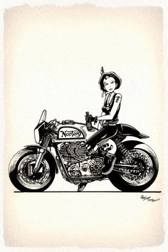 Cool illustration with a Norton café racer by the same guy who brought you Tank Girl.