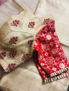 gold and red designer hand zardosi work Designer wedding saree lehenga blouses To inquire whatsapp 918888328116 or ethnicdiagmailcom Stylish Blouse Design, Saree Blouse Neck Designs, Fancy Blouse Designs, Bridal Blouse Designs, Designer Blouse Patterns, Designer Dresses, Work Blouse, Instagram, Embroidery Blouses