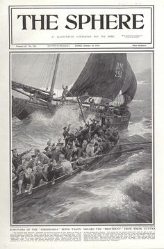 Survivors of the 'Formidable' being rescued (Print) art by The Sphere (Matania) at The Illustration Art Gallery