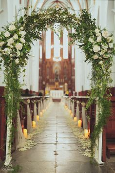 Simple and elegant aisle with white roses and candles Church Wedding Decorations Aisle, Small Church Weddings, Simple Church Wedding, Church Wedding Flowers, Simple Elegant Wedding, Small Intimate Wedding, Minimalist Wedding Decor, Church Flower Arrangements, Wedding Flower Inspiration