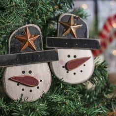 Primitive Wooden Snowman Ornament