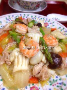 海鮮燴飯(中華丼)食譜、作法 | 馨苑料理KE-EN Kitche的多多開伙食譜分享