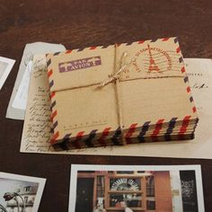 mini Airmail Kraft Envelopes  PARIS 10 sheets by WonderlandRoom, $2.60