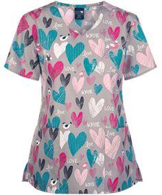 2b6124158e4 Zoe + Chloe Chirps of Love Print Scrub Top, Valentine's Scrubs
