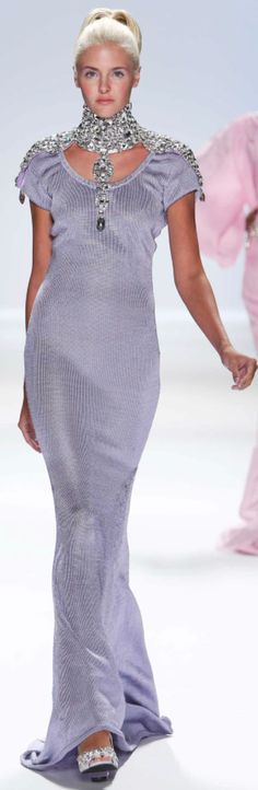 Zang Toi Spring 2013... Stunning and such a soft color.  Would like less jewels at the neck.  B.