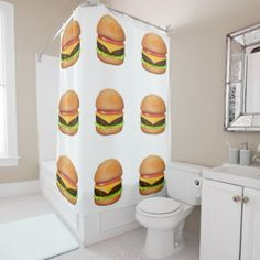 hipster shower curtain retro cheeseburger pattern - retro gifts style cyo diy special idea