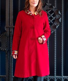 I love this coat!  (Zulily has such cool stuff!)  Look what I found on #zulily! Red Floral-Trim England Swing Coat - Plus by April Cornell #zulilyfinds