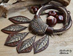 Joyería de declaración declaración collar arcilla del polímero joyería para mujer marrón joyería collar marrón otoño hojas joyas otoño hojas de otoño