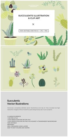 Succulents Illustration & Clip Art  Custom illustrated succulent vectors that are great for use in scrapbooks, gardening designs and more!  The download includes the clip art in vect... https://creativemarket.com/MeeraG/211519-Succulents-Illustration-Clip-Art?u=MeeraG&utm_source=Link&utm_medium=CM+Social+Share&utm_campaign=Product+Social+Share&utm_content=Succulents+Illustration+%26+Clip+Art+~+Illustrations+on+Creative+Market