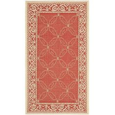 (0.6m x 0.9m, Red / Natural) - Safavieh Courtyard Collection CY1502-3707 Red and Natural Indoor/ Outdoor Area Rug (0.6m x 0.9m)