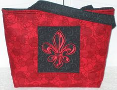 Red Fleur De Lis Tote Bag Large Embroidered purse by Mokadesigntotes, $38.00