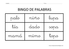 Educación Infantil: BINGO DE PALABRAS Kids English, Learning Spanish, Computer Keyboard, Worksheets, Homeschool, Classroom, Teaching, 1, Frijoles