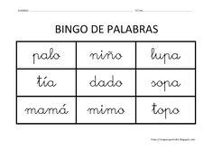 Educación Infantil: BINGO DE PALABRAS