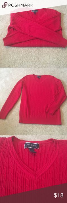 SALE☀️red Karen Scott vneck sweater This red Karen Scott sweater is perfect for those chilly fall days! It is thick and is a vneck. It is also perfect for the holidays with a pair of leggings or jeans and some boots! Karen Scott Sweaters V-Necks