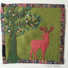 Unframed appliqued and stitched Deer textile Collage