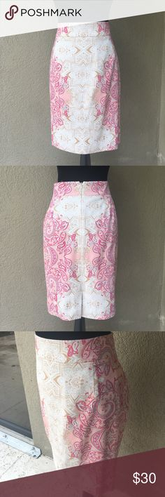 """🆕Antonio Melani patterned  pencil skirt Antonio Melani pink grey tan cream patterned with fuchsia detailing pencil skirt. Zipper and hook eye closure in center back as well as 4"""" slit center lower back. . EUC waist 18"""" laying flat length 21.5"""" Skirt is fully lined ✅I ship same or next day ✅Bundle for discount ANTONIO MELANI Skirts Pencil"""