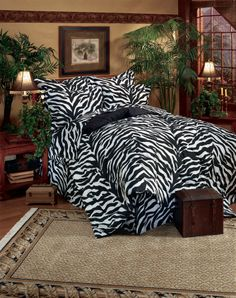 Black Zebra Stripe - Jungle SAFARI Theme - 6 Pc EXTRA LONG TWIN Comforter Set  #TropicalSafariTheme