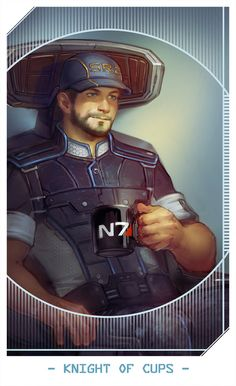 """Jeff """"Joker"""" Moreau as Knight of Cups -- Mass Effect Tarot Cards"""