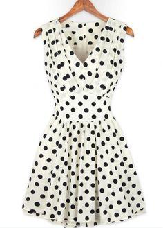 Romantic Dot Print V Neck Pleated Detail White Tank Dress