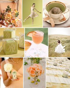 Call off the color search! Peach is IT! Maybe not with this green, but a slate grey? SO classy and elegant. i love it!