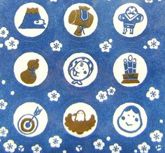 Japanese Stickers Traditional Symbols (S203) Chiygami Paper Blue White on Etsy, $6.50