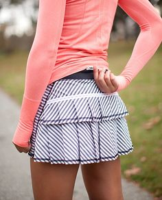 """Run: Pace Setter Skirt (Regular)"" by Lululemon. Such a cute skirt, I love it. I only wish that the front had the same kind of ruffles as the back."