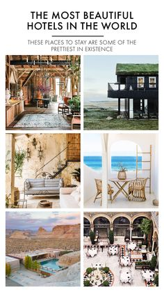 These places to stay are some of the prettiest in existence – white-washed villas in Italy, striking farms in Iceland, minimalist structures in the desert and barefoot private islands in the Indian Ocean – in no particular order. Beautiful Hotels, Most Beautiful, Villas In Italy, Lodges, Best Hotels, Vacation Ideas, Farms, Barefoot, Iceland