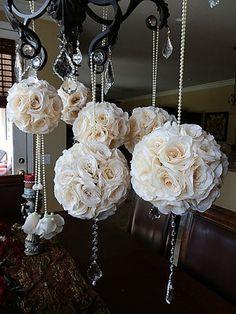 Ivory Crystal Embellished Wedding Pomanders- Set of 6