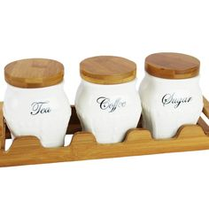 Vaso Tea Coffee Sugar Canister Set Ceramic Jars Bamboo Lids With Tray New Style in Home, Furniture & DIY, Cookware, Dining & Bar, Food & Kitchen Storage | eBay