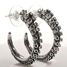 Octopus Tentacle earrings made of sterling silver hoop earrings by zulasurfing by on Etsy