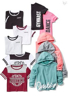 Keep her on-the-go in style with cute & durable girls' sportswear when you shop Justice. From practice to gym class, she'll love our girls' sports clothes. Cute Outfits For School, Cute Girl Outfits, Sporty Outfits, Athletic Outfits, Outfits For Teens, Justice Girls Clothes, Girls Sports Clothes, Justice Clothing, Clothing Sites